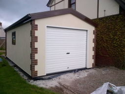 Smooth Render Modular Integrated Garage With Real Brick Quoin Stones
