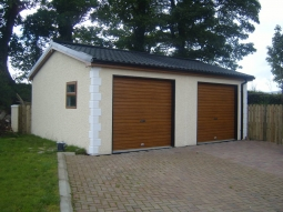 Dash Finish Double Modular Integrated Garage with Quoin Stones