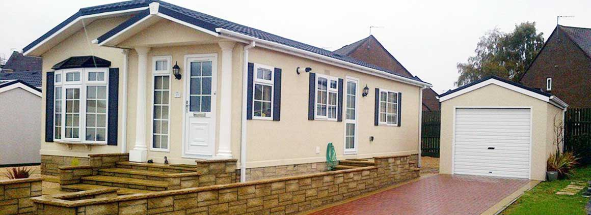 Modular Steel Garage matched to a Park Home
